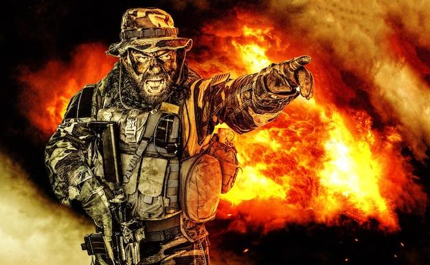 United states commando połowie długości studio strzał. otwarte usta, żołnierz krzyczy, emitując przerażający, przerażający krzyk wskazujący cel palcem i dający kierunek ataku podwładnym