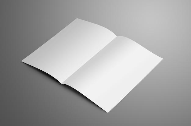 Uniwersalna biała broszura bifold a4 a5 z miękkimi cieniami na szarym tle