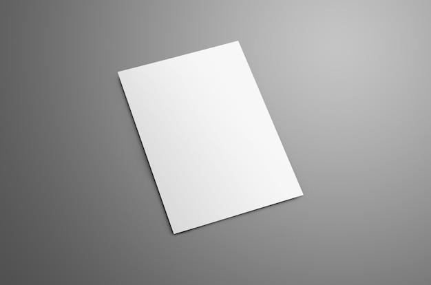 Uniwersalna pusta broszura a4, (a5) bi-fold z miękkimi realistycznymi cieniami na białym tle na szarym tle. broszura przedstawia tylną okładkę. szablon może służyć do projektowania.