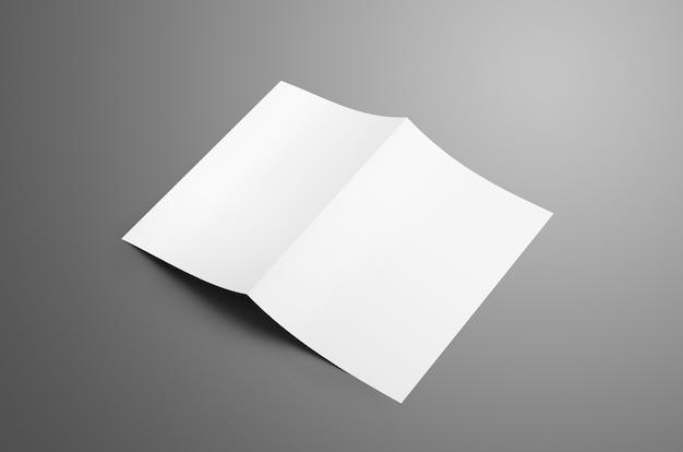 Uniwersalna pusta broszura bifold a4 a5 z miękkimi cieniami na szarym tle