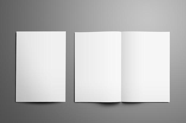 Uniwersalny szablon z dwiema białymi broszurami a4 a5 bifold z realistycznymi cieniami na białym tle
