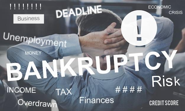 Upadek biznesowy upadłość kryzys finansowy recesja koncepcja