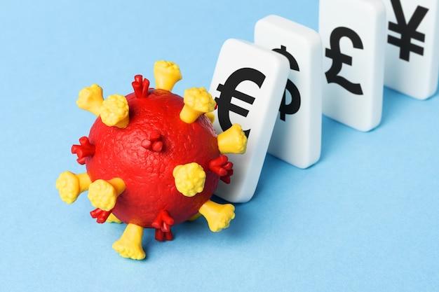 Upadek światowej gospodarki. pandemia covid 19 powoduje kryzys finansowy. straty rynkowe