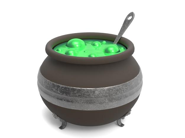 Upiorny kocioł czarownicy z zielonym bulgoczącym gotowaniem na białym tle
