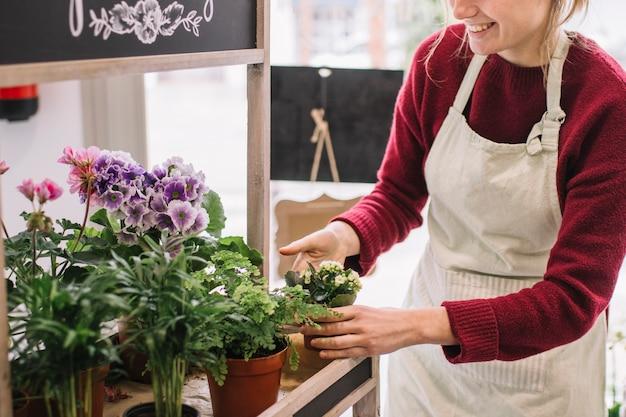 Upraw kobiety opiekujące się kwiatami