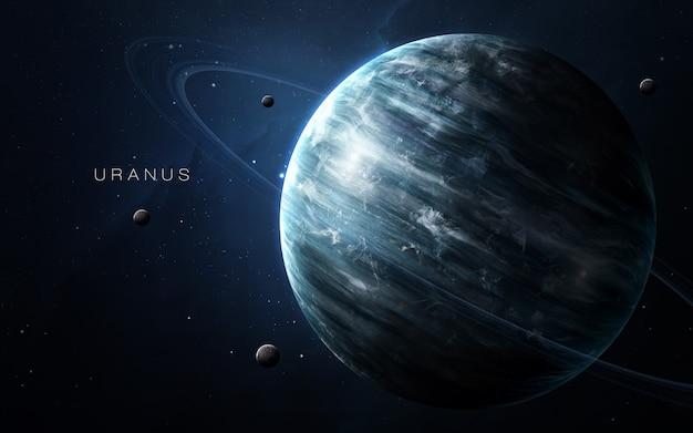 Uran w przestrzeni, ilustracja 3d. .