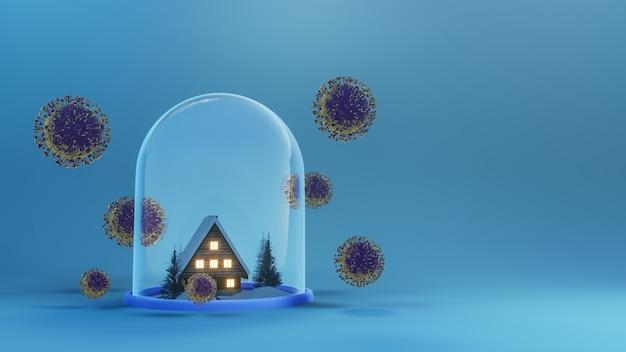 Uratuj dom przed wirusem koronawirusa covid 19 virus. zostań w domu. dom w szklanej kopule z koronawirusem covid 19. renderowania 3d.