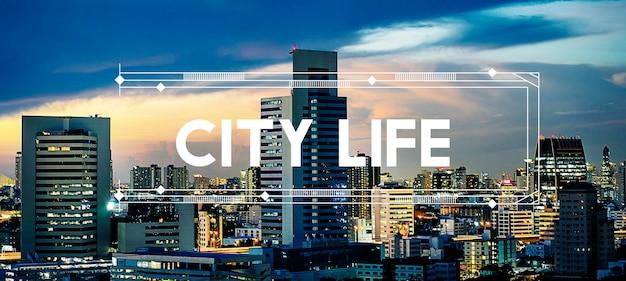 Urban living city lifestyle grafika społeczeństwa