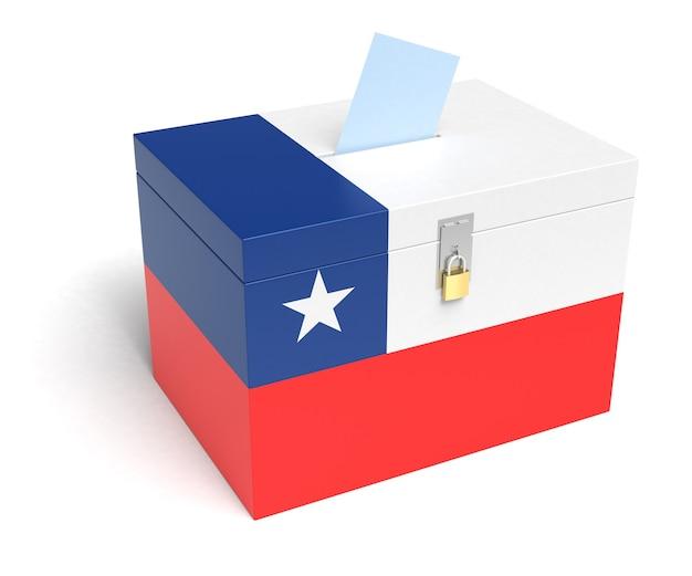 Urna wyborcza flaga chile. na białym tle. renderowanie 3d.
