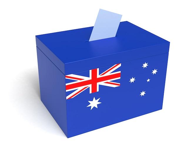 Urna wyborcza z flagą australii. na białym tle. renderowanie 3d.