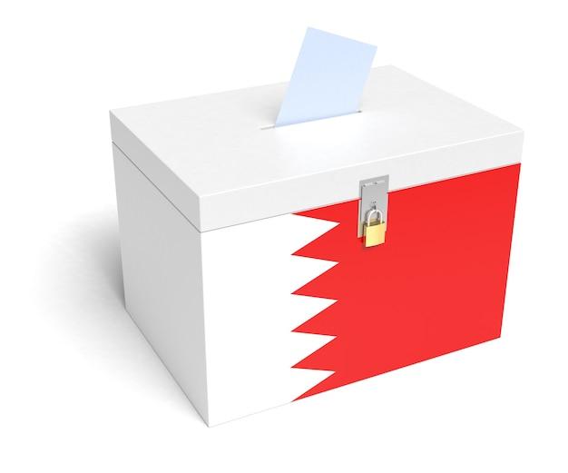 Urna wyborcza z flagą bahrajnu. na białym tle. renderowanie 3d.
