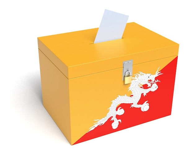 Urna wyborcza z flagą bhutanu. na białym tle. renderowanie 3d.