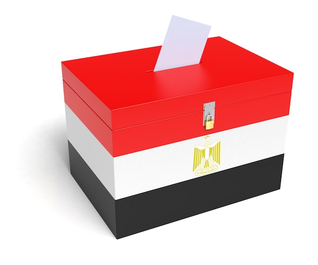 Urna wyborcza z flagą egipską. renderowanie 3d.