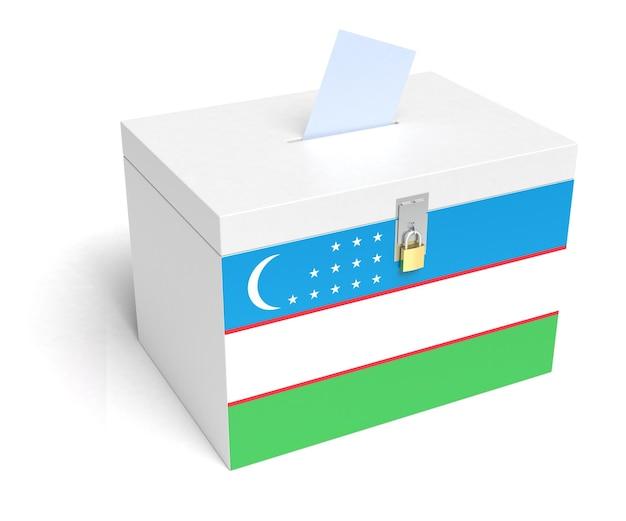 Urna wyborcza z flagą uzbekistanu. na białym tle. renderowanie 3d.