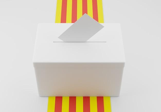 Urna z kopertą do głosowania w gnieździe gotowa do głosowania. flaga katalonii