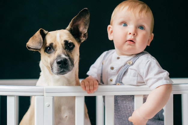 Urocza chłopiec z psem stoi wpólnie w ściąga na czarnym tle