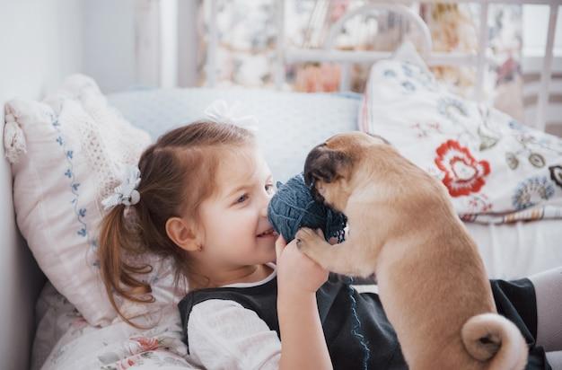 Urocza mała dziewczynka karmi ślicznego mopsa. kupiła szczeniaka. najlepszy przyjaciel