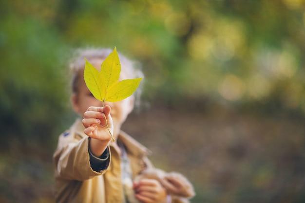 Urocza mała dziewczynka w beżowym płaszczu przeciwdeszczowym trzymająca opadający żółty liść wychodzi naprzeciwko twarzy