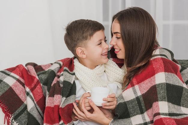 Urocza matka i syn razem