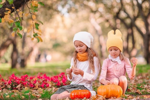 Urocze dziewczynki na zewnątrz w ciepły słoneczny jesienny dzień