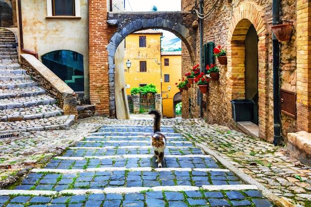 Urocze kwieciste uliczki starych włoskich wiosek. casperia w prowincji rieti, valle sabina