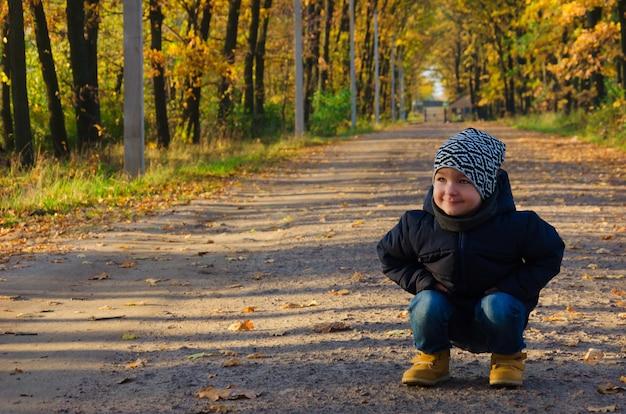 Uroczy dwuletni chłopiec w niebieskiej kurtce i pstrokatym kapeluszu usiadł jesienią na ścieżce w parku