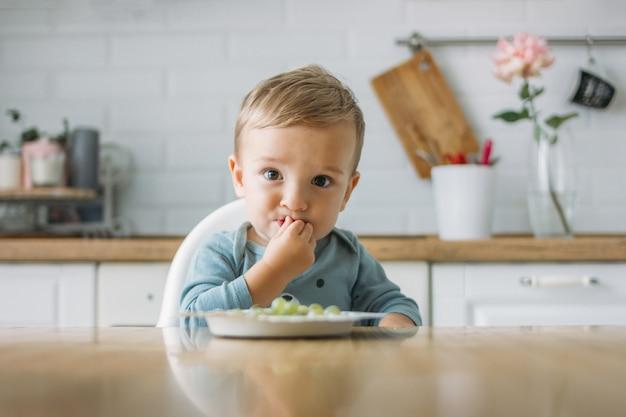 Uroczy mały chłopczyk, jedząc pierwsze jedzenie zielonych winogron w jasnej kuchni w domu