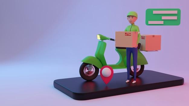 Uroczy personel dostawy weź paczkę. renderowanie 3d. postać 3d.