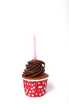 Urodzinowe domowe ciastko ze świecą