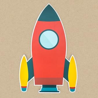 Uruchomienie ikony rakiety na białym tle