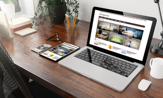 Urządzenia e-magazyn na drewnianym pulpicie renderowania 3d