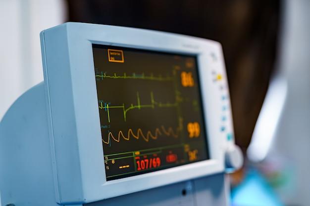 Urządzenia medyczne, koncepcja projektowania wnętrz szpitala. wnętrze sali operacyjnej w nowoczesnej klinice, ekran z zbliżeniem badań