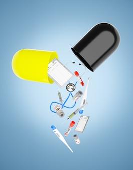 Urządzenia medyczne wypadające z kapsułek ilustracja renderowania 3d
