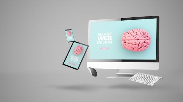 Urządzenia pływające pokazujące inteligentną responsywną stronę internetową