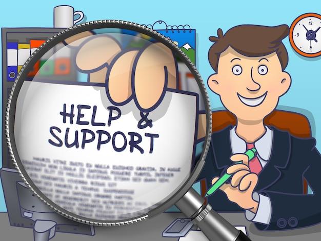 Urzędnik siedzący w biurze i opracowujący koncepcję pomocy i wsparcia w postaci papieru.