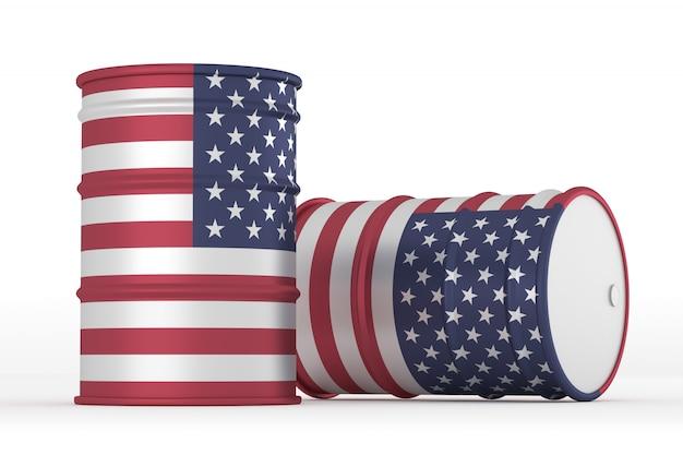 Usa baryłki flagi stylu oleju na białym tle