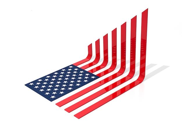 Usa flag charts i rośnie. ilustracja 3d