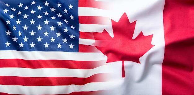 Usa i kanada. flaga usa i flaga kanady