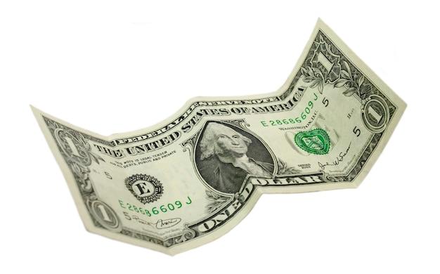 Usa jeden dolar na białym tle nad białym