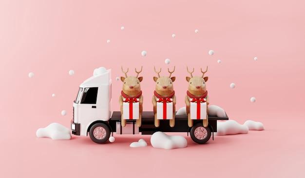 Usługa dostawy ciężarówek z reniferami i happy gift box 3d render koncepcji.