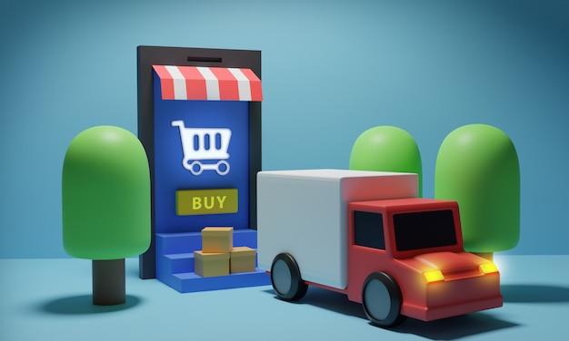Usługa dostawy online z ciężarówką w drodze
