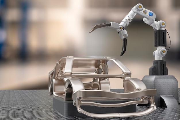 Usługa przetwarzania produkcji samochodów w fabryce robot hi tech robotic ai ramię kontrolne robot ręczny sztuczny do technologii samochodowej garaż dealerskiej z tech ręcznie inżynieria cyborgów motoryzacyjny renderowanie 3d