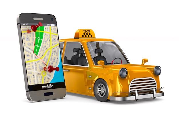 Usługa taksówki na białej przestrzeni