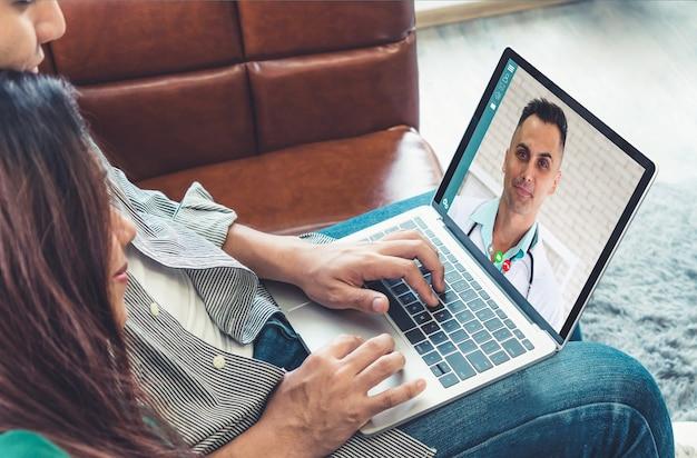 Usługa telemedycyny lekarza online wideo do wirtualnego czatu medycznego na temat zdrowia pacjenta