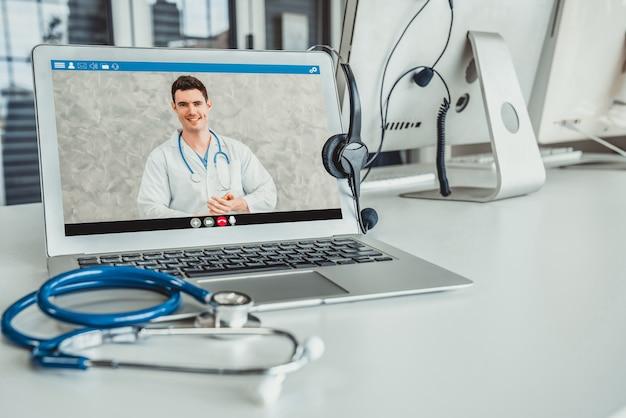 Usługa telemedyczna online rozmowa wideo dla lekarza, aby aktywnie rozmawiać z pacjentem