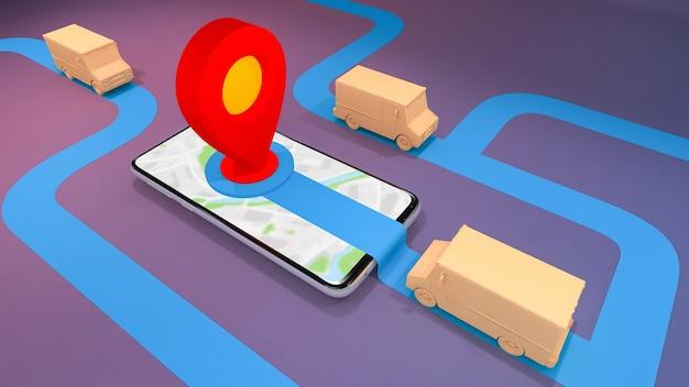 Usługa transportu zamówień online na aplikację mobilną, koncepcja dostawy, renderowanie 3d.