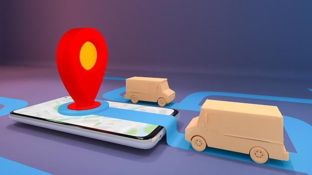 Usługa transportu zamówienia aplikacji mobilnej online., koncepcja dostawy., renderowanie 3d.