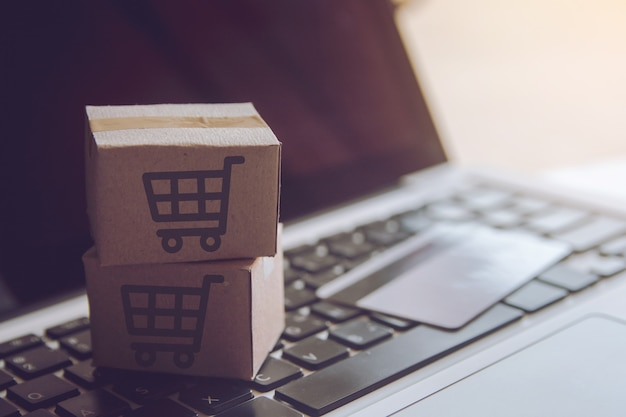 Usługa zakupy w internecie. z płatnością kartą kredytową i oferuje dostawę do domu