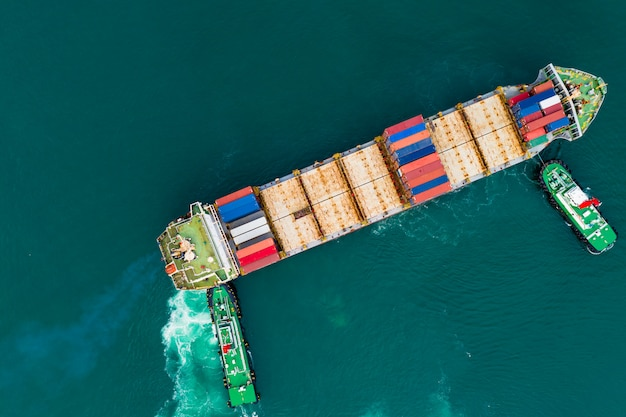 Usługi biznesowe i przemysł wysyłka kontenery transportowe import i eksport międzynarodowego widoku z góry