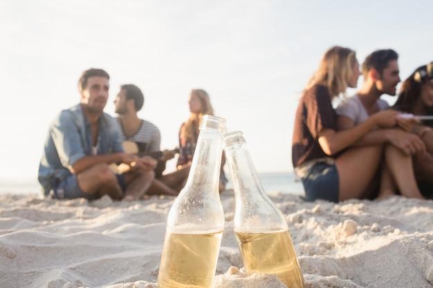 Uśmiechnięci przyjaciele siedzi na piasku